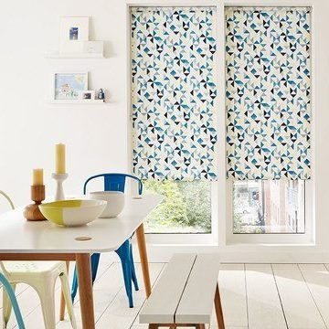 blue patterned Kitchen Roller Blind_Padro Spring