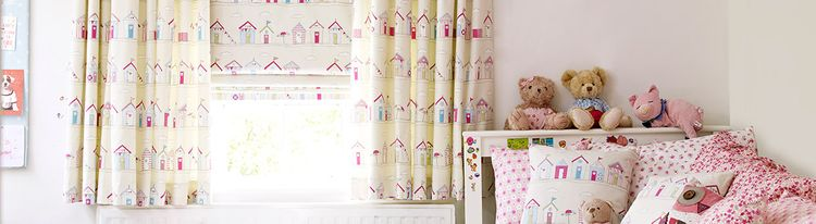 pink roman blind - bedroom - beach huts pink