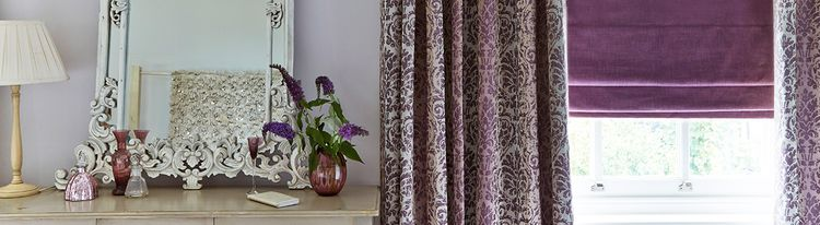 purple roman blind - bedroom - opulence amethyst purple