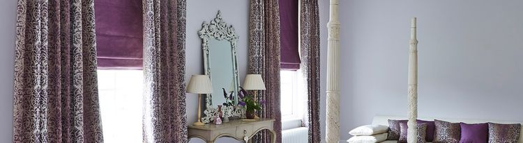 purple roman blind - bedroom - opulence amethyst purple2