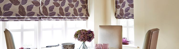 purple roman blind - dining room - indira aubergine