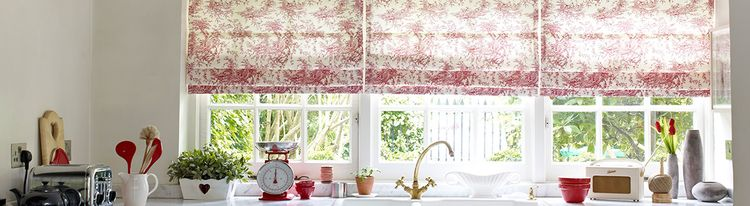 red roman blind - kitchen - toile cherry