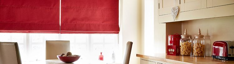 red roman blind - kitchen -tetbury red