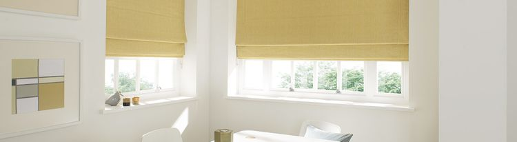 yellow roman blind - dining room - rain sunshine