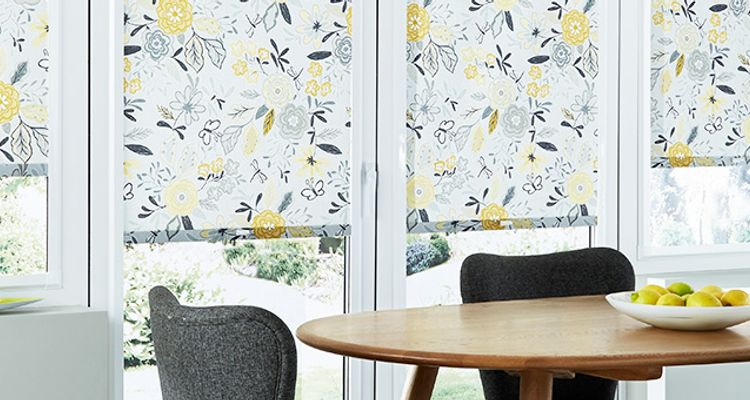 yellow-perfect-fit-roller-blind-dining-room-betsy-mustard