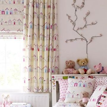 Beach Hut Patterned Made to Measure Childrens Curtains With Beach hut Roman Blind in a Bedroom Window - Beach Huts Pink Curtain and Roman Blind
