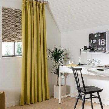 Made to Measure Yellow Pencil Pleat Curtains with a Beige Roman Blind in the Study - Tetbury Mustard pencil pleat curtain and Laverne Sulphur Roman blind