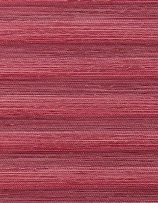 A swatch showing the Grenoble Plum fabric, with a striped red design with several tones of red