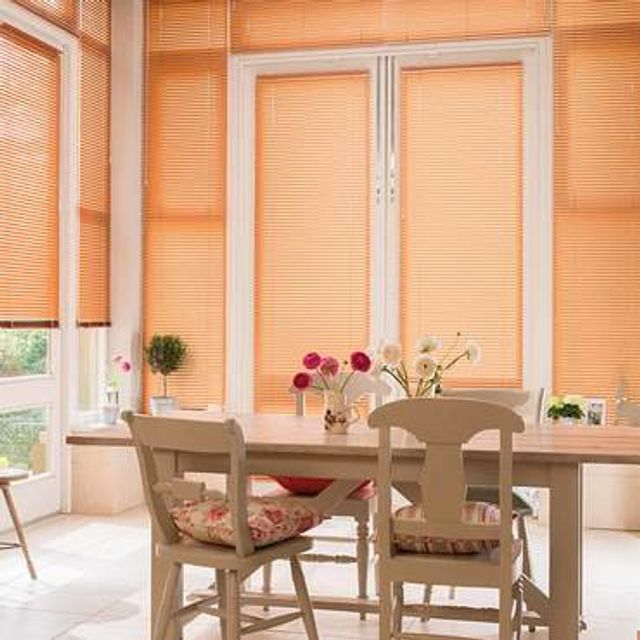 Sheer Luxury Brushed Copper Venetian blinds in a modern kitchen