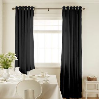 Islita Charcoal Curtains in dining room with white furniture