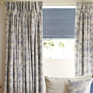 Blue Patterned Made to measure pencil pleat curtains in the living room - Toille french blue