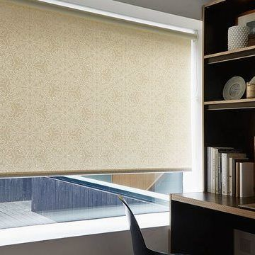 Beige Wessex Pearl roller blinds hung in study