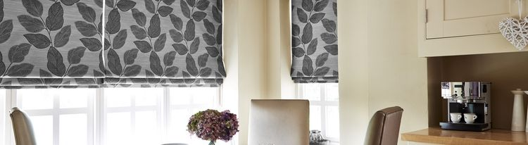 Grey Patterend Roman blind-kitchen-Indira Monochrome