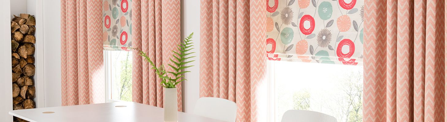 salmon-blackout-roman-blind-dining-room-freya-coral-hillarys-blinds