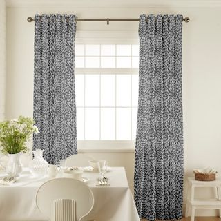 Daze Silver Curtains in dining room with white furniture