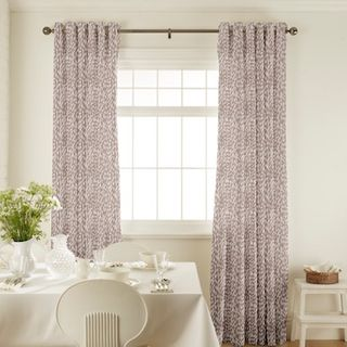Daze Taupe Curtains in dining room with white furniture