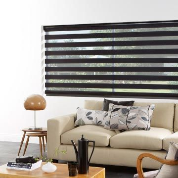 Day and night roller blind in living room