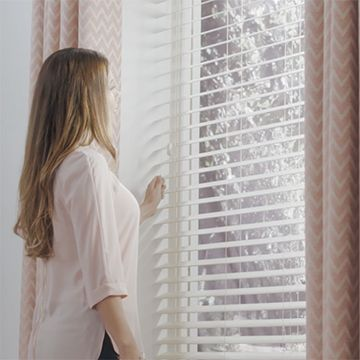 White-venetians-Pink-curtains-Living-Room-Soft-Ivory-Wood-Illusions-and-Horizon-Salmon-curtains