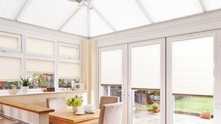 Pleated roof blind Crush Ivory with Crush Ice Pleated side blind Conservatory