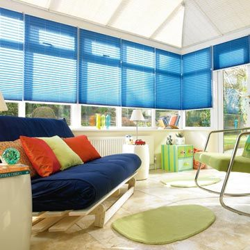 Midas-Turquoise-pleated-blind-conservatory