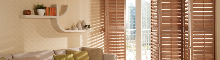 Tracked Brown Shutters in a Lounge