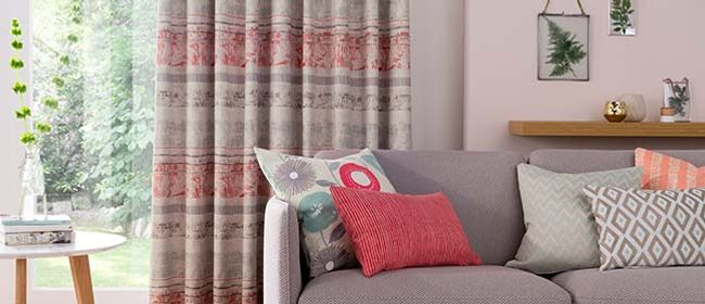 peach curtains-living room-fjord coral