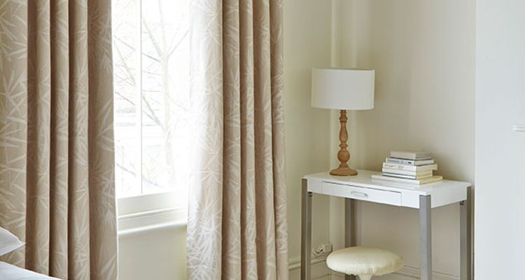 Made to Measure Blackout Curtains in Beige featured in the bedroom - Bamboo Linen Mineral Chalk Blackout Curtains