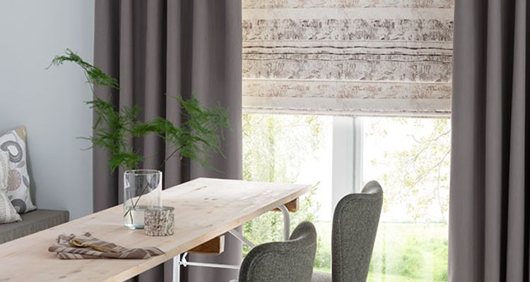 Grey Dining Room Blackout Curtains - Tetbury Charcoal Blackout Curtain