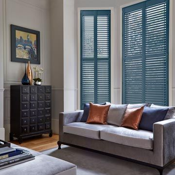 Full height Blue Custom Colour Shutters
