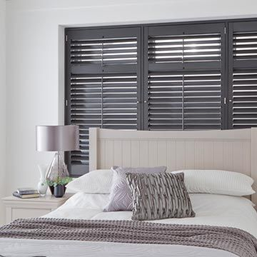 Full Height Grey Richmond Shutters