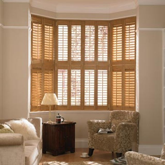 Full Height Brown Richmond Shutters