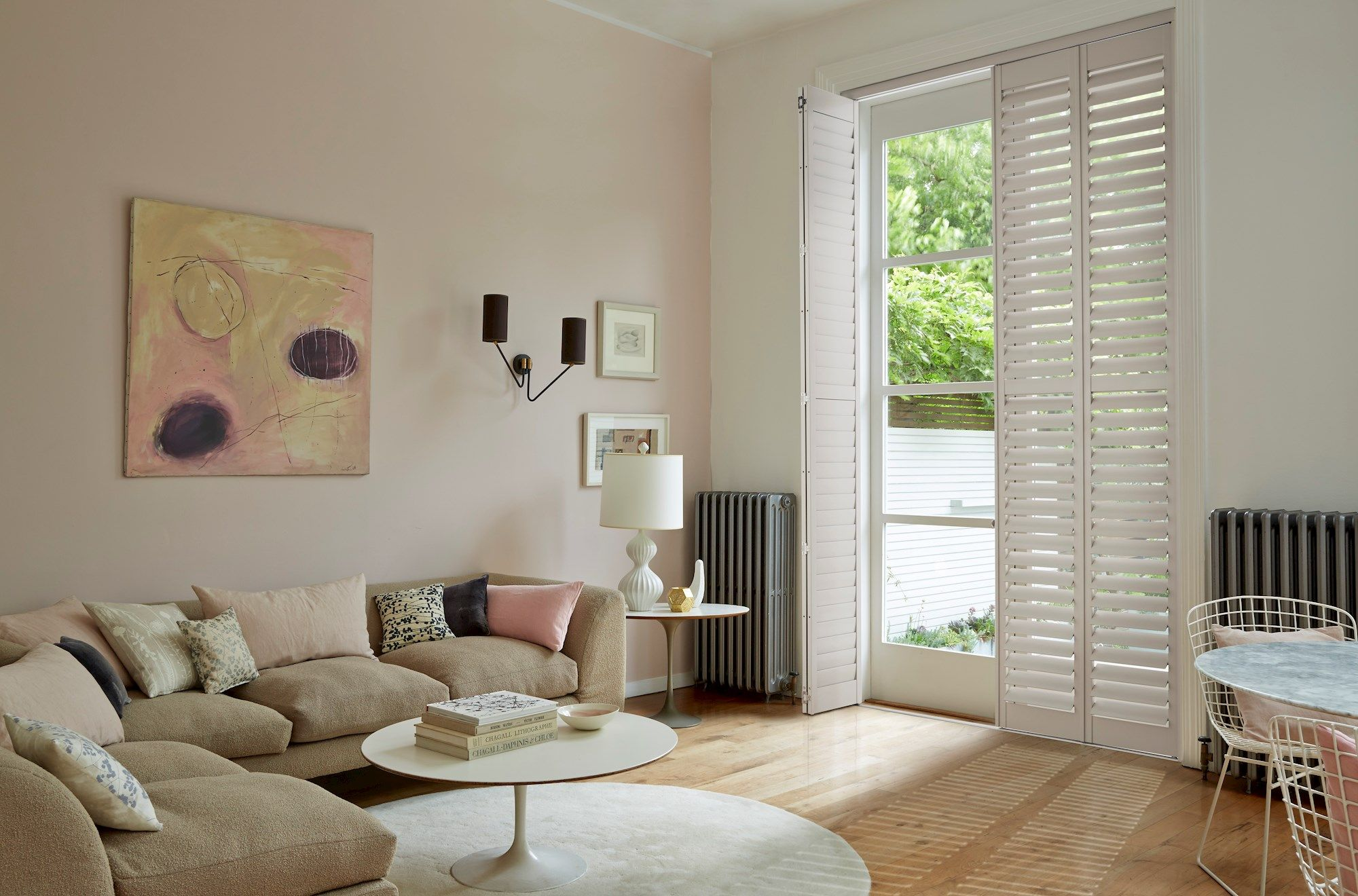 Full Height White Richmond Shutters