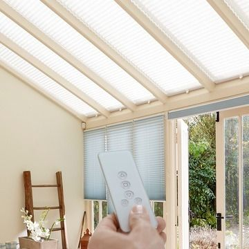 Cream-Pleated-Blinds-Conservatory-Grenoble-Motorised