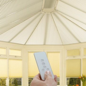 Cream-Pleated-Blinds-Conservatory-Motorised