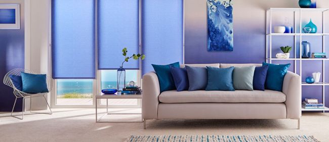 blue roller blind-living room