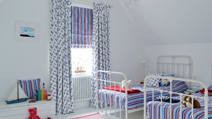 Anchors Away curtains and Lollipop Red Roman blind