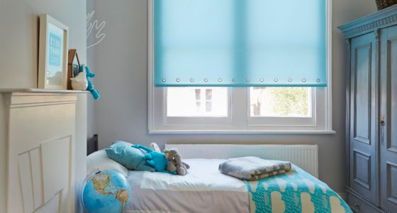 Aqua Roller blind bedroom -