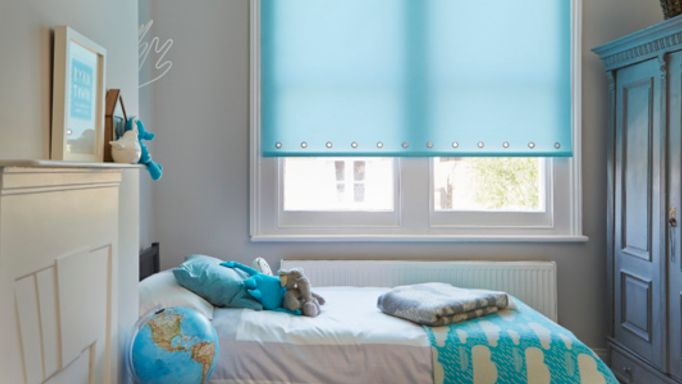 Aqua Roller blind bedroom