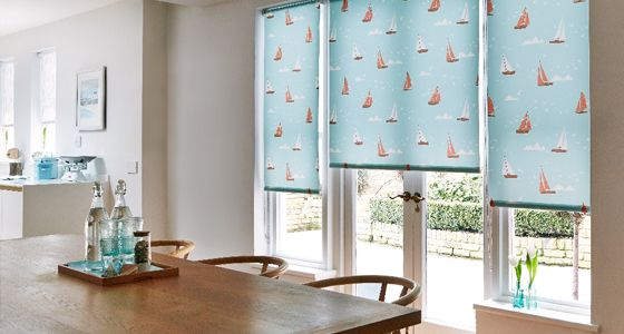 Boats Teal Roller blinds -