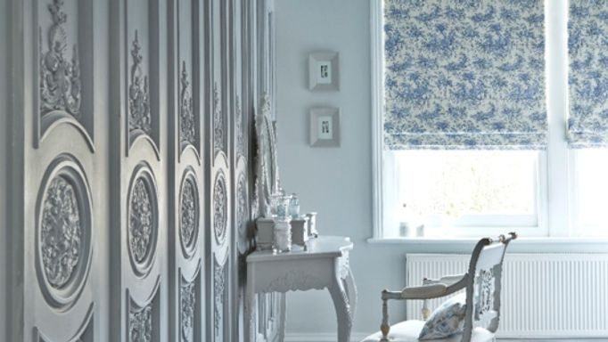 Toile French Blue Roman blinds