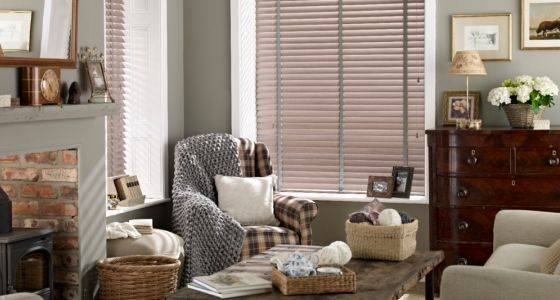 Wooden venetian blinds living room -