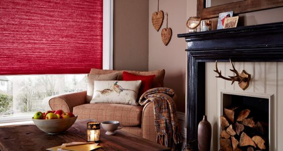 Red Pleated blind living room -