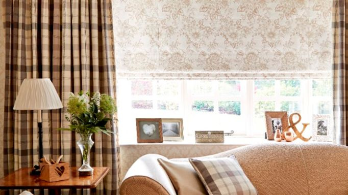 Wollaton Charcoal plaid curtain and roman blind living room