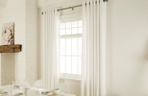 Tetbury Ivory eyelet curtains dining room