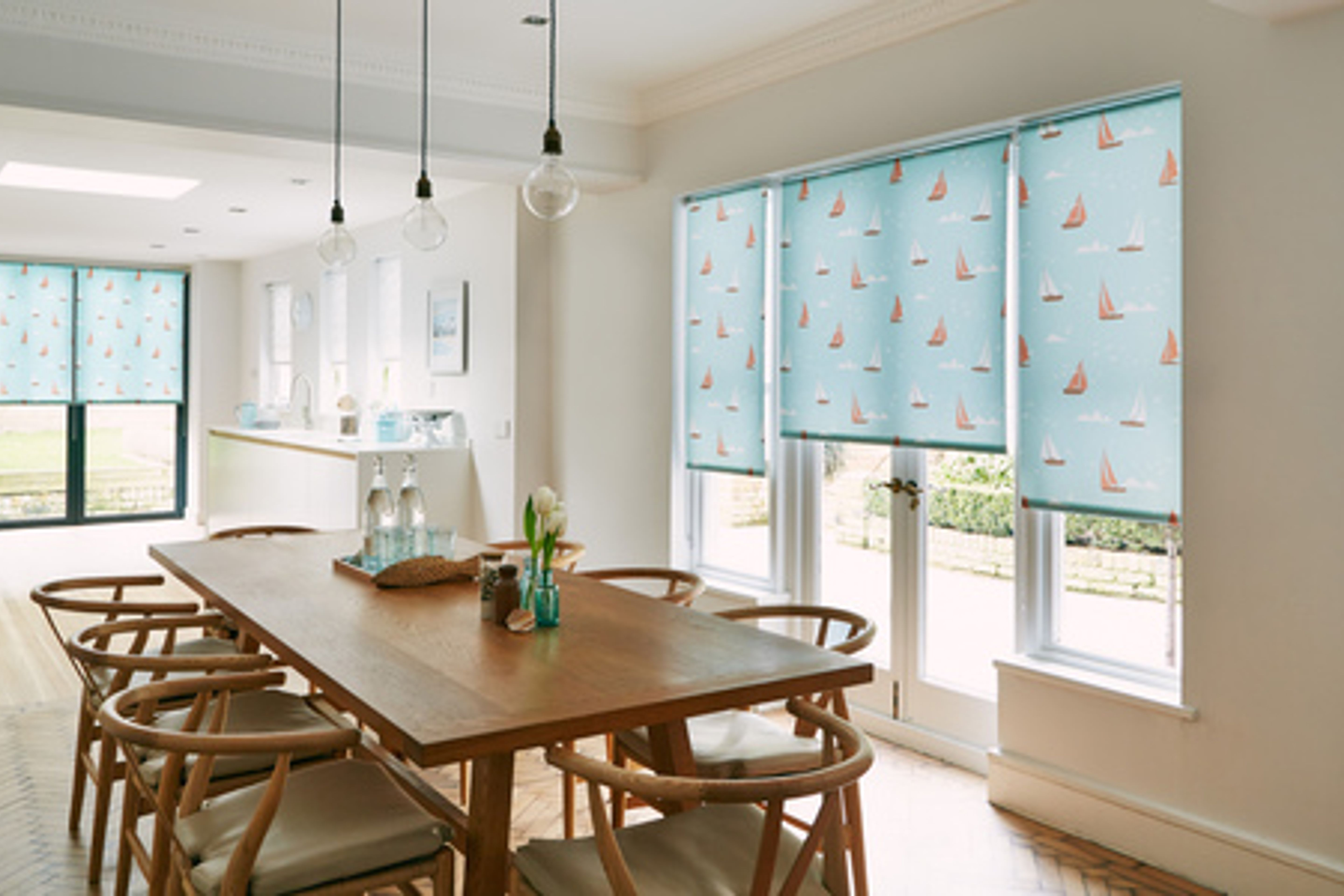 Boats Teal Roller blind -