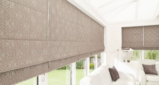 Grey Roman blind with thermal lining conservatory -