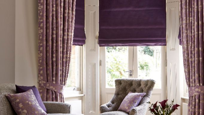 Purple Roman blind with thermal lining living room