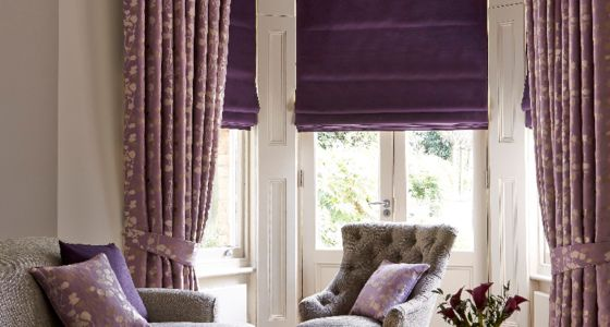 Purple Roman blind with thermal lining living room -