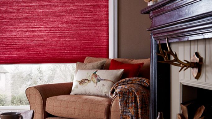 Red Pleated blinds living room