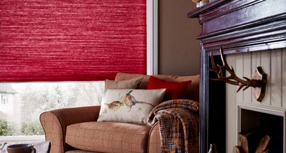 Red Pleated blinds living room -